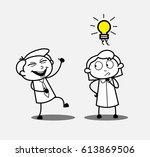 boy laughing on girl vector... | Shutterstock .eps vector #613869506