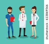 medical team doctor group flat...   Shutterstock .eps vector #613869566