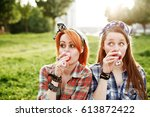 Two Young Hipster Girls Having...