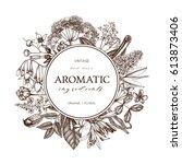vector hand drawn perfumery and ... | Shutterstock .eps vector #613873406
