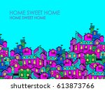 hand drawn pattern with doodle... | Shutterstock .eps vector #613873766