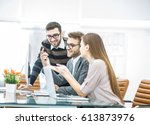 professional business team is...   Shutterstock . vector #613873976