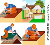 roof construction worker repair ... | Shutterstock .eps vector #613874792