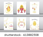 set of easter greeting cards... | Shutterstock .eps vector #613882508