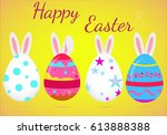 happy easter card with eggs ...   Shutterstock .eps vector #613888388