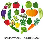 healthy heart with healthy food ... | Shutterstock .eps vector #613888652