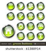 vector set  green buttons  ...