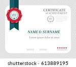 certificate template layout ... | Shutterstock .eps vector #613889195