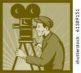 vector vintage movie or... | Shutterstock .eps vector #61389151
