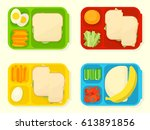 open plastic school lunch box.... | Shutterstock .eps vector #613891856
