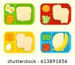 open plastic school lunch box...   Shutterstock .eps vector #613891856
