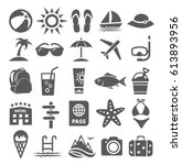 summer icons on white background | Shutterstock . vector #613893956