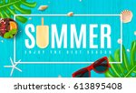 beautiful summer background... | Shutterstock .eps vector #613895408