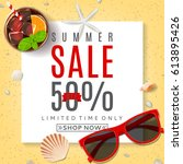 background for summer sale. top ... | Shutterstock .eps vector #613895426
