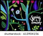 bright and colorful floral... | Shutterstock .eps vector #613904156