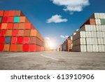 cargo containers in dockyard... | Shutterstock . vector #613910906