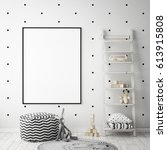 Stock photo mock up poster frame in children bedroom scandinavian style interior background d render d 613915808