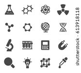 vector black science icons set... | Shutterstock .eps vector #613918118