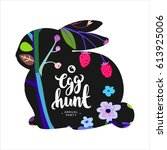 silhouette of easter bunny... | Shutterstock .eps vector #613925006