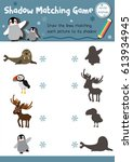 shadow matching game of arctic... | Shutterstock .eps vector #613934945