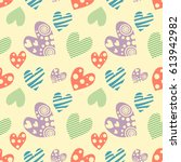 seamless pattern with hearts.... | Shutterstock . vector #613942982