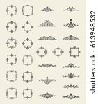retro rosette and victorian... | Shutterstock .eps vector #613948532