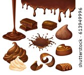 cartoon chocolate elements set... | Shutterstock .eps vector #613949996