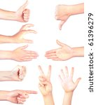 hand gestures isolated on white ...   Shutterstock . vector #61396279