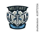 logo  emblem  military weapons  ... | Shutterstock .eps vector #613972316