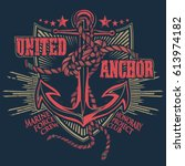 anchor with ropes on badge | Shutterstock .eps vector #613974182