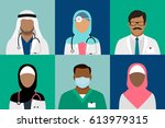 arabian muslim medical staff... | Shutterstock .eps vector #613979315