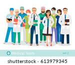 hospital or medical lab staff... | Shutterstock .eps vector #613979345