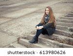 portrait of a beautiful girl in ...   Shutterstock . vector #613980626
