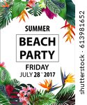 summer beach party flyer  ... | Shutterstock .eps vector #613981652