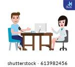 doctor measuring patient blood... | Shutterstock .eps vector #613982456
