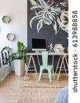 modern work area at blackboard... | Shutterstock . vector #613988858