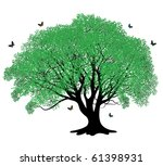 green tree with butterflies