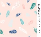 seamless pattern of tropical... | Shutterstock . vector #613990892