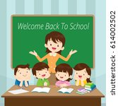 welcome back to school kids... | Shutterstock .eps vector #614002502