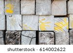 closeup wood pattern at the... | Shutterstock . vector #614002622