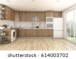 3d rendering wood laundry and... | Shutterstock . vector #614003702