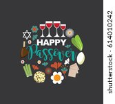 happy passover flat design. for ... | Shutterstock .eps vector #614010242