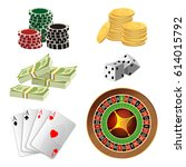 poker chips  golden coins with... | Shutterstock .eps vector #614015792