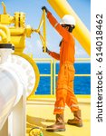 offshore oil and gas operations ... | Shutterstock . vector #614018462