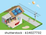 isometric electric power from... | Shutterstock .eps vector #614027732
