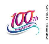 100th anniversary celebration... | Shutterstock .eps vector #614037392
