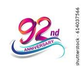 92nd anniversary celebration... | Shutterstock .eps vector #614037566
