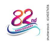 82nd anniversary celebration... | Shutterstock .eps vector #614037656