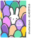 easter postcard with cute bunny ... | Shutterstock .eps vector #614039516