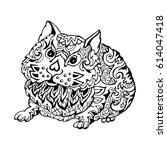 hamster  drawing graph on white ... | Shutterstock .eps vector #614047418